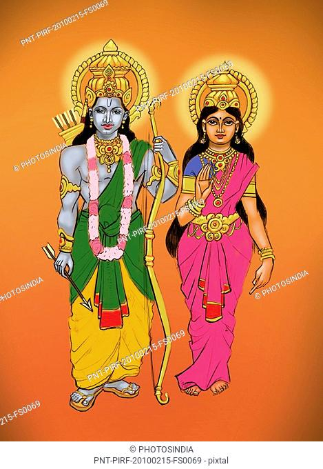 Hindu God Lord Rama with Goddess Sita