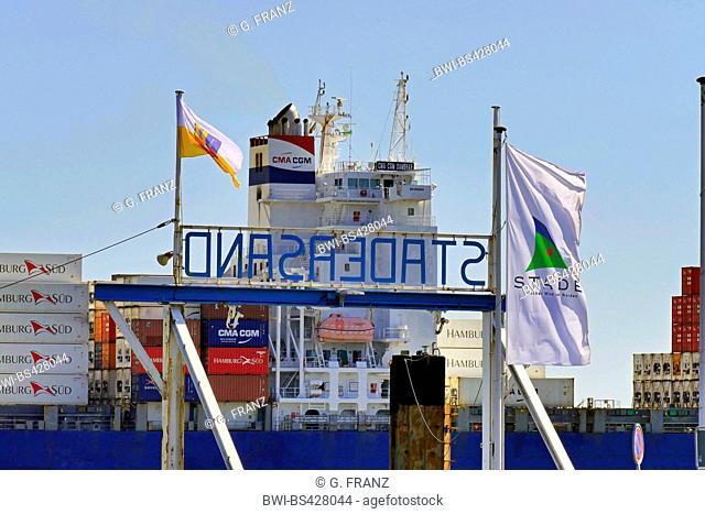 container ship CMA CGM Sambhar on Lower Elbe near Stadersand, Germany, Lower Saxony, Stade