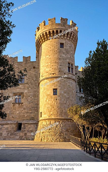 The Palace of the Grand Masters, Old town in Rhodes, Dodecanese Islands, Greece, UNESCO