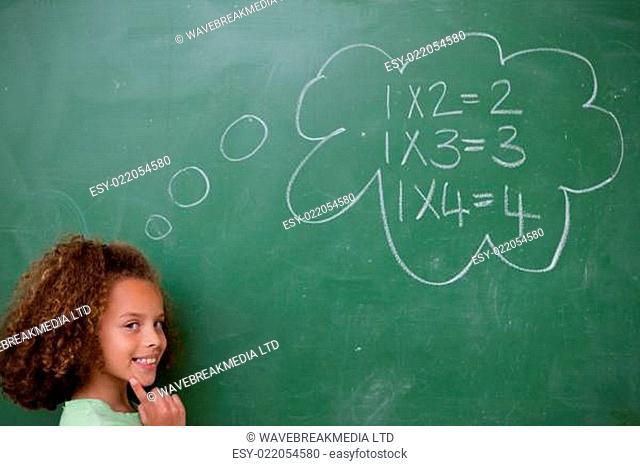 Schoolgirl thinking about mathematics