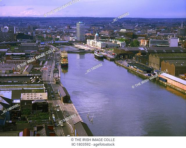 Historic Dublin - Aerial, Viuew from the Gasometer, River Liffey