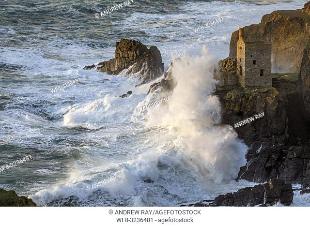 The lower of The Crown Engine Houses at Botallack in Cornwall, captured using a telephoto lens on a stormy afternoon in mid February