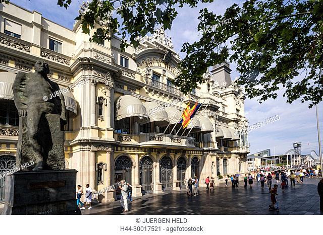 Spain, Barcelona, Catalonia, Rambla de Mar, Central building of Port de Barcelona