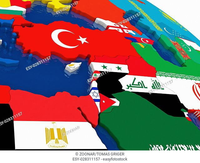 Middle East on 3D map with flags