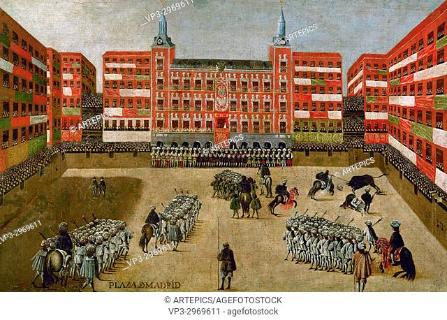 Spanish School - . View of the Plaza Mayor during the ferias. Marianne of Austria and Charles II. 17th century
