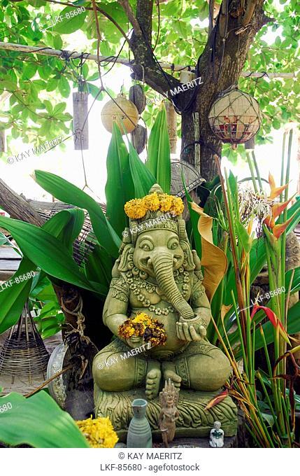 Beach restaurant Same Same but Different with sculpture, Garden with Ganesha, Ao Kantiang, Ko Lanta, Krabi, Thailand