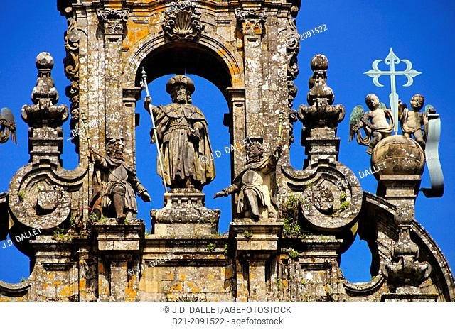 Statue of St James the Apostle on the top of the cathedral façade, Santiago de Compostela, Way of St James, A Coruña province, Galicia, Spain