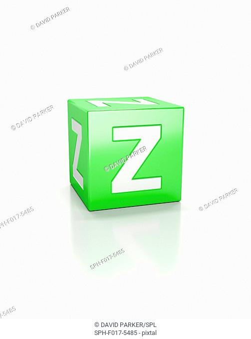 Green cube with letter Z