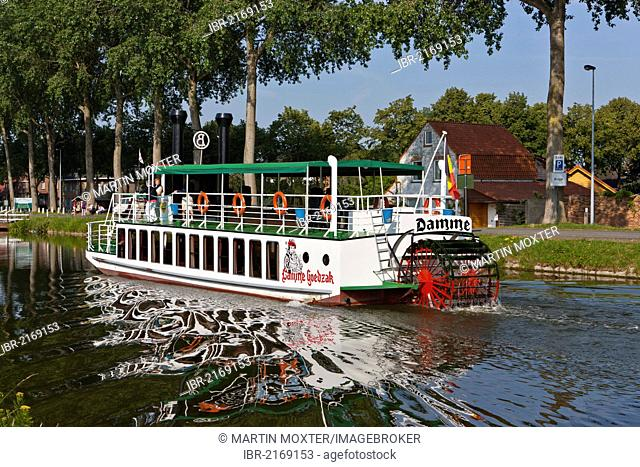 Old steamboat on a canal between Bruges and Damme, Damse Vaart-Zuid, Damme, Bruges, West Flanders, Flemish Region, Belgium, Europe