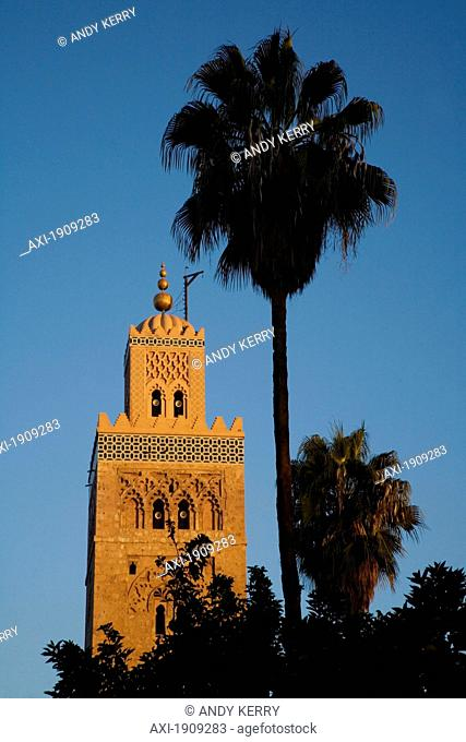 Minaret Of Koutoubia Mosque And Palm Tree, Marrakesh,Morocco