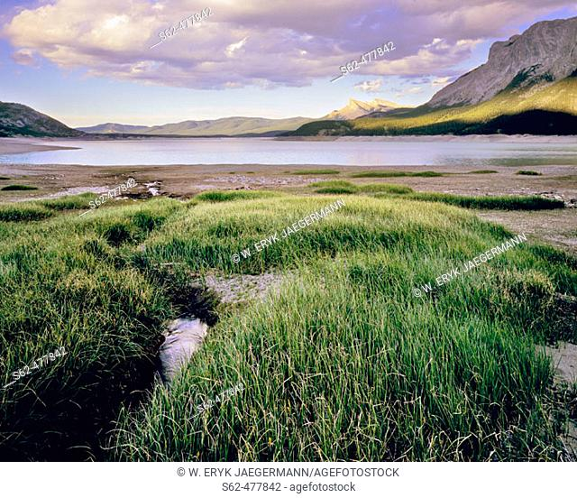 Light Plays on the Mountain Sides, Abraham Lake, Rocky Mountains, Alberta, Canada