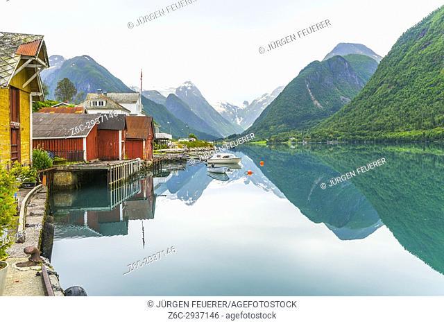 Mirroring in the Fjaerlandsfjorden in Mundal, municipality of Sogndal, Sognefjorden, Norway