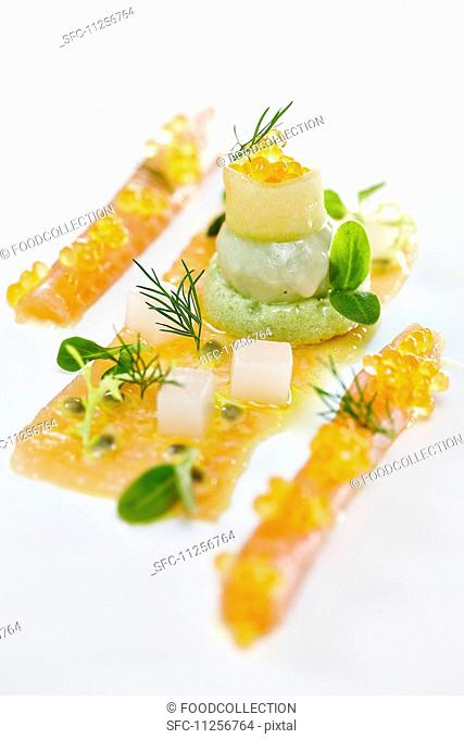 Char caviar with avocado cream