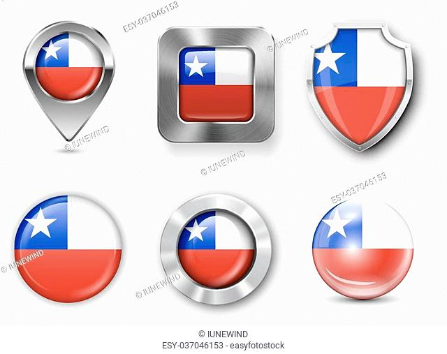 Chile Metal and Glass Flag Badges, Buttons, Map marker pin and Shields. Vector illustrations