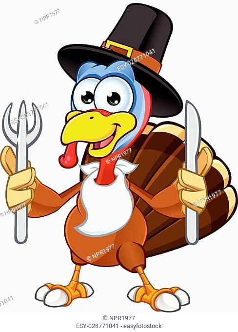 A cartoon illustration of a Thanksgiving Turkey character