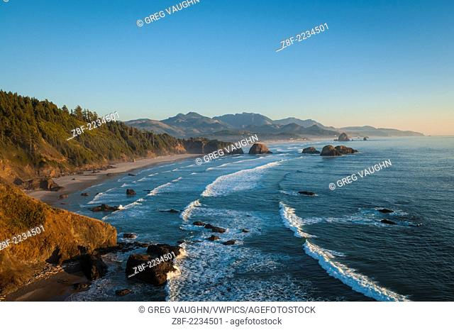Ecola State Park view to Crescent Beach, Cannon Beach, Haystack Rock and Hug Point; northern Oregon Coast