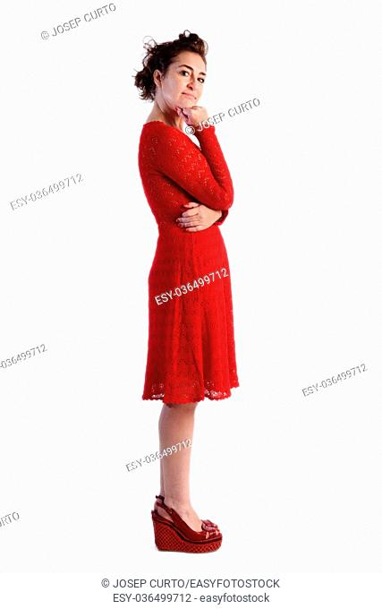 Full portrait woman in red