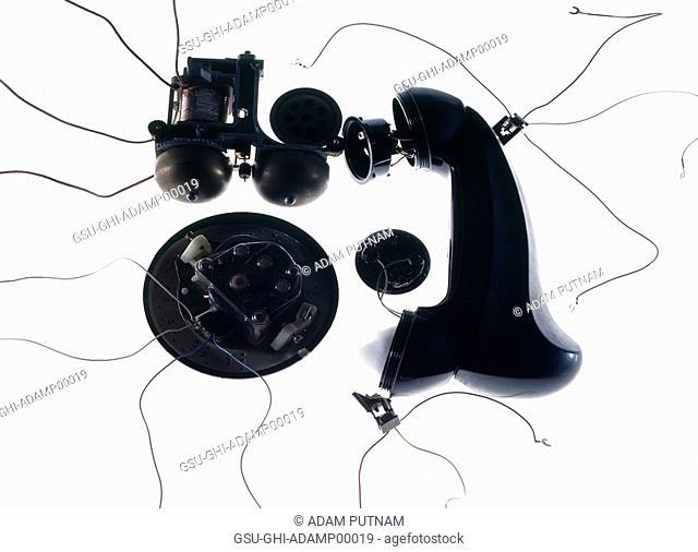 telephones, taken apart, communication