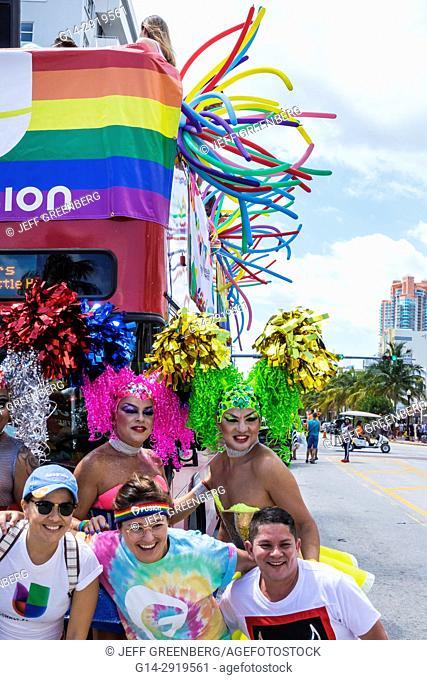 Florida, Miami Beach, Lummus Park, Gay Pride Week, LGBTQ, LGBT, Pride Parade, participants, staging area, drag queen