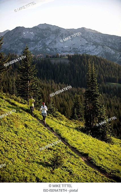 Runners on Bloods Lake trail near Guardsman Pass, Wasatch Mountains, Utah, USA