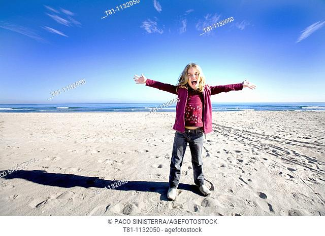 blue sky blond girl alone
