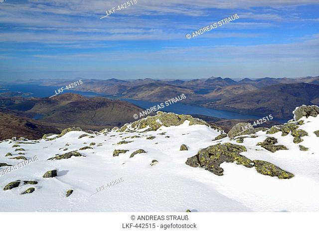 View from Ben Nevis to Loch Linnhe, Ben Nevis, Highland, Scotland, Great Britain, United Kingdom