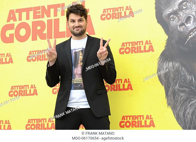 Italian actor Frank Matano during Attenti al Gorilla photocall at The Space Cinema Moderno. Rome, January 8th, 2019