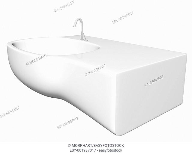 Modern washbasin or sink with faucet and plumbing fixtures, isolated against a white background