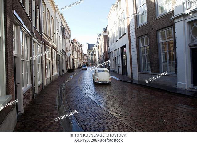 oldtimer in the old town dordrecht, netherlands