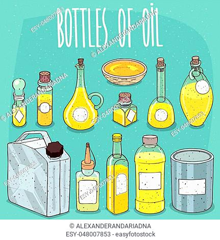 Mockup set of different transparent containers of oil or yellow liquid, with white sticker labels for text or image. Hand drawn style with grunge texture