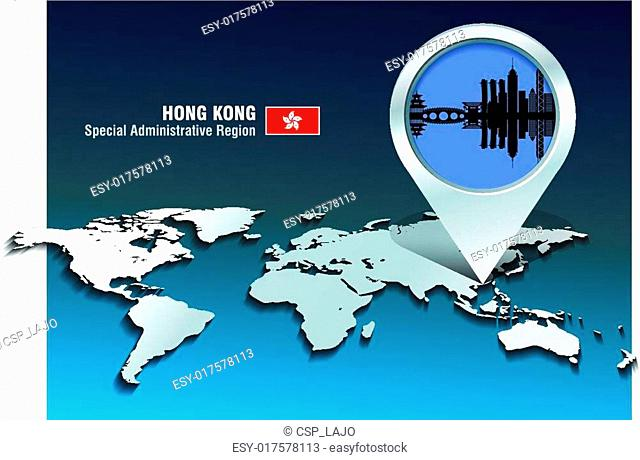 Map pin with Hong Kong skyline