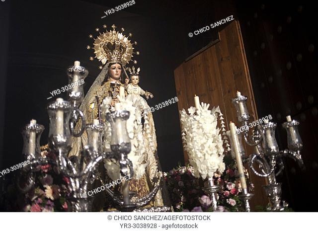 An image of Our Lady of Carmel during Easter Holy Week in Prado del Rey, Sierra de Grazalema, Andalusia, Spain