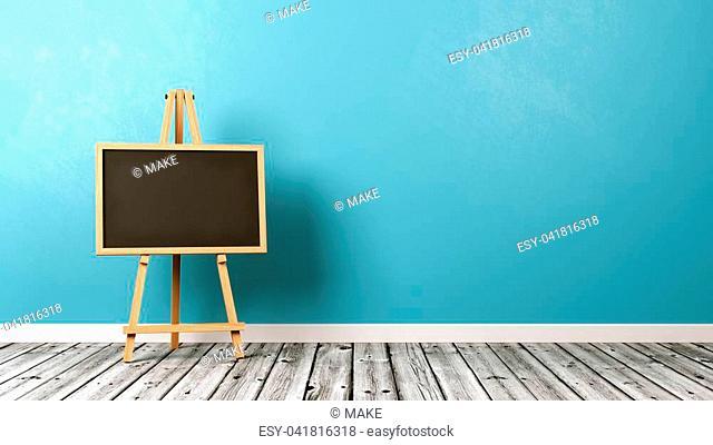 Blank Blackboard on Wooden Easel on Wooden Floor with Copyspace on Blue Background 3D Illustration