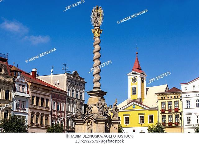 Broumov, Czech Republic, main square with Marian Column