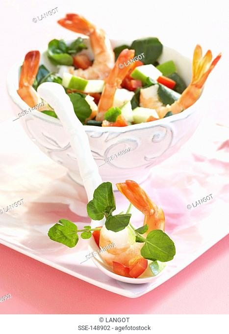 Watercress,shrimp,red pepper and green apple salad