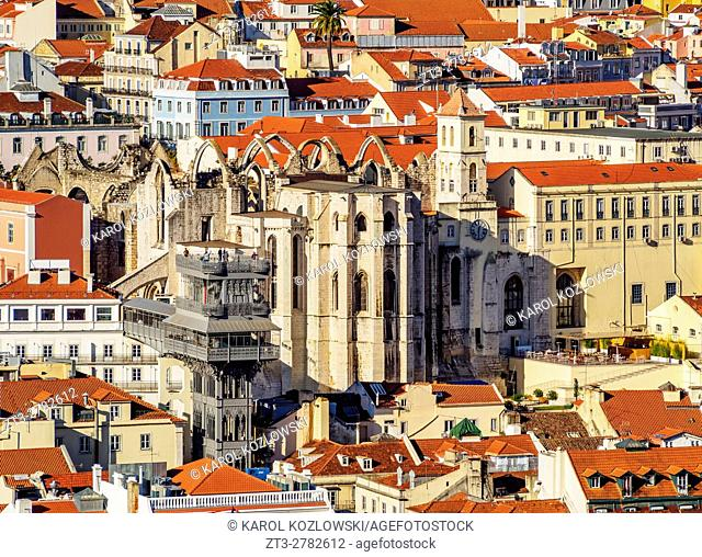 Portugal, Lisbon, Elevated view of the Santa Justa Lift and Carmo Convent