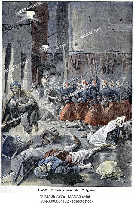 Troops attempting to clear streets during Arab/Jewish riots  Algeria  From 'Le Petit Journal', Paris, 6 February 1898