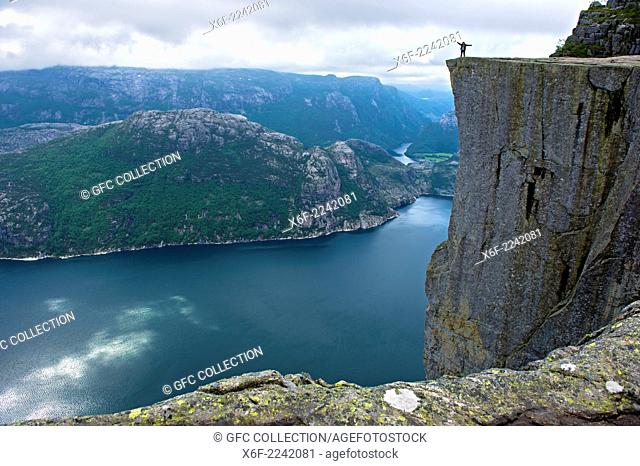 Visitors on the Preikestolen, Pulpit Rock, at Lysefjord, Rogaland province, Norway