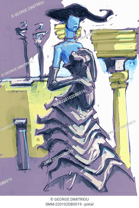 Woman dressed elegantly in front of columns