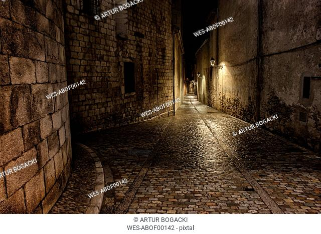 Spain, Girona, Pujada del Rei Marti at night