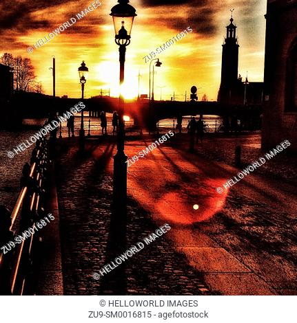 Sunset and silhouettes, Stockholm, Sweden, Scandinavia