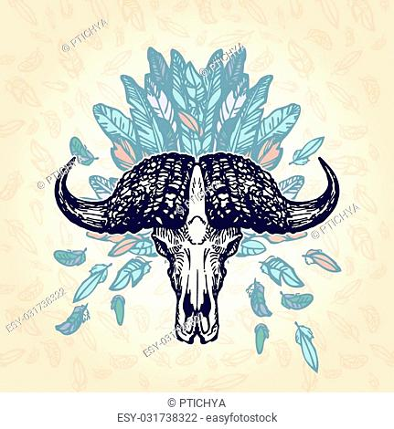 Elephant skull on a plumage background. Contains transparent objects