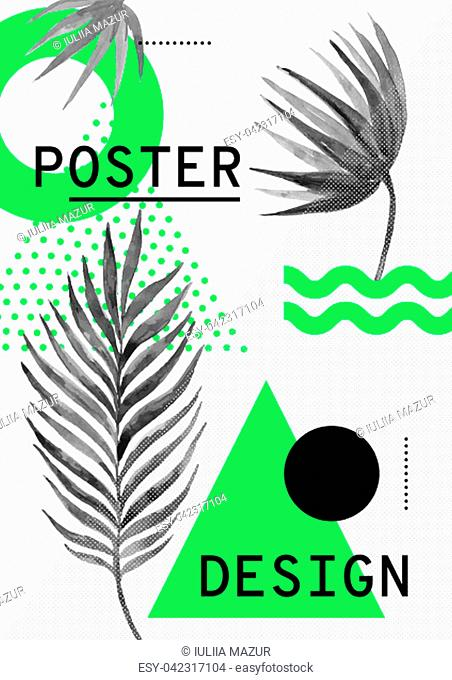 Universal trend pattern juxtaposed with bright bold geometric green leaves foliage elements composition. Poster Background in restrained sustained tempered...