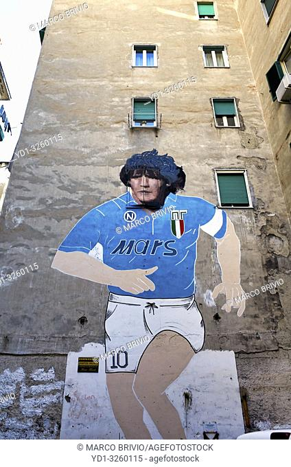 Naples Campania Italy. Made on the occasion of the second Scudetto of Napoli, in the 1990, the mural of Maradona is located in the Quartieri Spagnoli and has...
