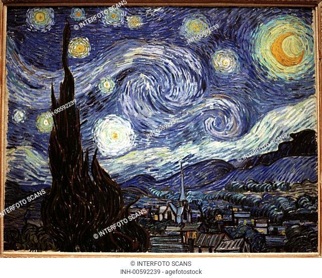 Malerei 19.Jahrhundert, Niederlande, Vincent van Gogh, Sternennacht, 1889, TEXT NOCH IN BEARBEITUNG