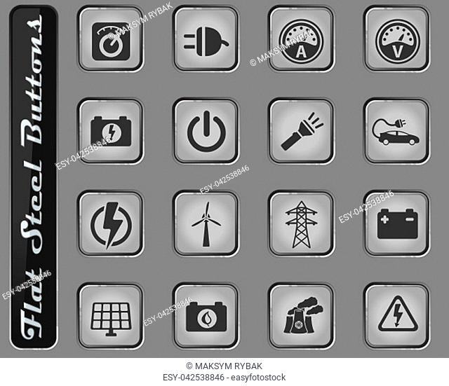 Electricity vector web icons on the flat steel buttons