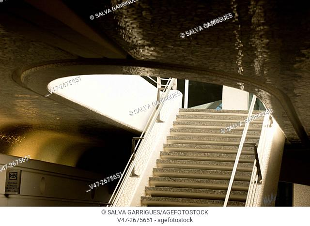 Stairs inside the City of Arts and Ciencies leading to Hemisferic, Valencia, Spain, Europe