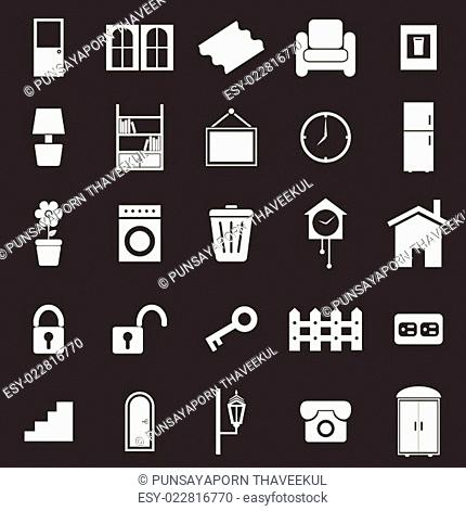 House related icons on black background