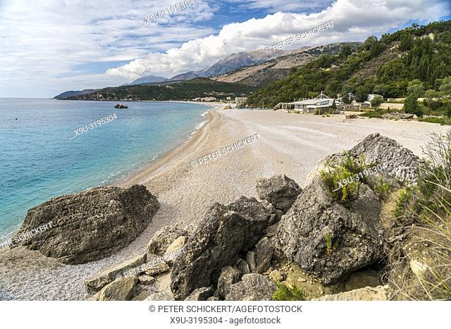 Livadhi Beach on the Albanian Riviera near Himara, Albania, Europe