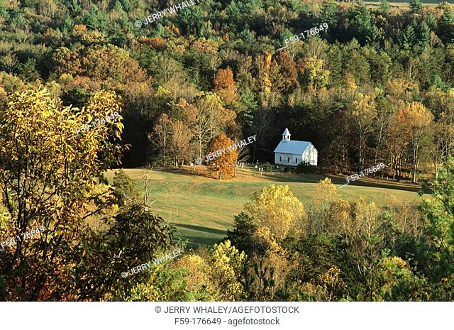 Methodist church. Cades Cove in fall. Great Smoky Mountains National Park. Tennessee. USA